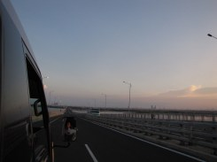 Crossing the SuroMadu Bridge, which is a lot like the Sunshine Skyway in Florida.