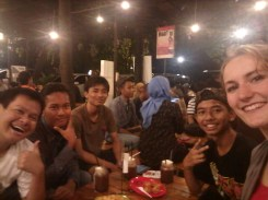 At one of my favorite hangouts, Rolag Cafe, with some super sweet students this past Saturday night.