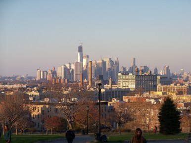 View from Sunset Park across to Lower Manhattan.