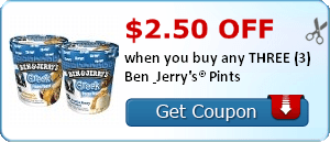 $2.50 off when you buy any THREE (3) Ben & Jerry's® Pints