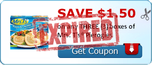 SAVE $1.50 on any THREE (3) boxes of Mrs. T's® Pierogies