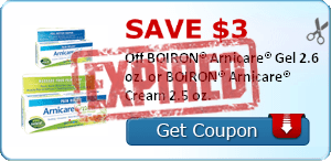 SAVE $3.00 Off BOIRON® Arnicare® Gel 2.6 oz. or BOIRON® Arnicare® Cream 2.5 oz.