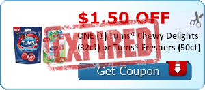 $1.50 OFF ONE (1) Tums® Chewy Delights (32ct) or Tums® Freshers (50ct)