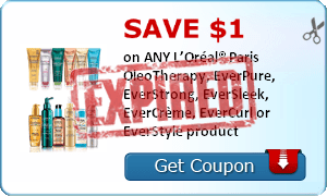 SAVE $1.00 on ANY L'Oréal® Paris OleoTherapy, EverPure, EverStrong, EverSleek, EverCrème, EverCurl or EverStyle product