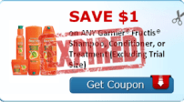 SAVE $1.00 on ANY Garnier® Fructis® Shampoo, Conditioner, or Treatment (Excluding Trial Size)