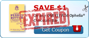 SAVE $1.00 On any ONE (1) Wild Ophelia® Chocolate Bar