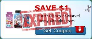 SAVE $1.00 On ANY Disney or Marvel Gummy Vitamins Item