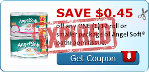 SAVE $0.45 off any ONE (1) 12 roll or smaller package of Angel Soft® bathroom tissue.