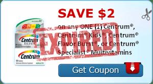 SAVE $2.00 on any ONE (1) Centrum®, Centrum® Kids®, Centrum® Flavor Burst®, or Centrum® Specialist® Multivitamins