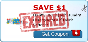 SAVE $1.00 On any ONE (1) all® Laundry Detergent or all® Fabric Softener