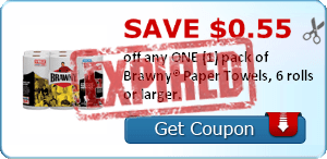 SAVE $0.55 off any ONE (1) pack of Brawny® Paper Towels, 6 rolls or larger.