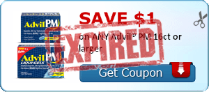 SAVE $1.00 on ANY Advil® PM 16ct or larger