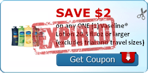 SAVE $2.00 on any ONE (1) Vaseline® Lotion 20.3 fl. oz or larger (excludes trial and travel sizes)