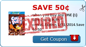 Save 50¢ when you buy any ONE (1) BOX Cocoa Puffs® cereal..Expires 1/31/2014.Save $0.50.