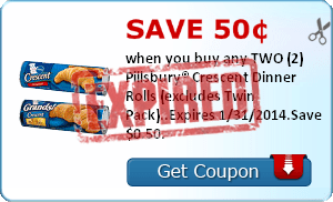 Save 50¢ when you buy any TWO (2) Pillsbury® Crescent Dinner Rolls (excludes Twin Pack)..Expires 1/31/2014.Save $0.50.