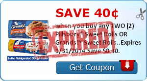 Save 40¢ when you buy any TWO (2) Pillsbury® Sweet Rolls OR Grands!® Sweet Rolls..Expires 1/31/2014.Save $0.40.