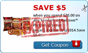 Save $5.00 when you spend $20.00 on any Snyder's of Hanover® Pretzels (5 oz. or larger)..Expires 3/5/2014.Save $5.00.