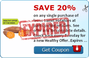 Save 20% on any single purchase of loose Sweet Potatoes at participating retailers. See offer info for complete details. Check back every Tuesday for a new Healthy Offer..Expires 4/7/2014.Save 20%.
