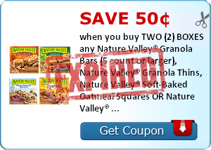 Save 50¢ when you buy TWO (2) BOXES any Nature Valley® Granola Bars (5 count or larger), Nature Valley® Granola Thins, Nature Valley® Soft-Baked Oatmeal Squares OR Nature Valley® Breakfast Biscuits..Expires 5/31/2014.Save $0.50.