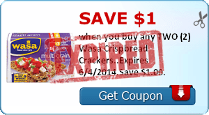Save $1.00 when you buy any TWO (2) Wasa Crispbread Crackers..Expires 6/4/2014.Save $1.00.
