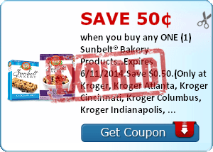 Save 50¢ when you buy any ONE (1) Sunbelt® Bakery Products..Expires 6/11/2014.Save $0.50.(Only at Kroger, Kroger Atlanta, Kroger Cincinnati, Kroger Columbus, Kroger Indianapolis, Hilander, PayLess, Owen's, Kroger Memphis, Kroger Michigan, Kroger Mid Atlan