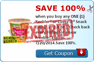 Save 100% when you buy any ONE (1) Keebler® or Cheez-It® Snack Cup (2.2 - 3.0 oz.). Check back every Friday for a new Freebie!.Expires 7/20/2014.Save 100%.