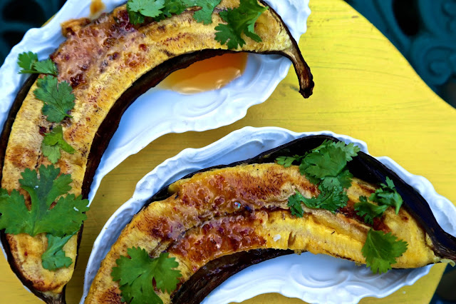 BBQ baked plantain with chilli butter, lime and coriander
