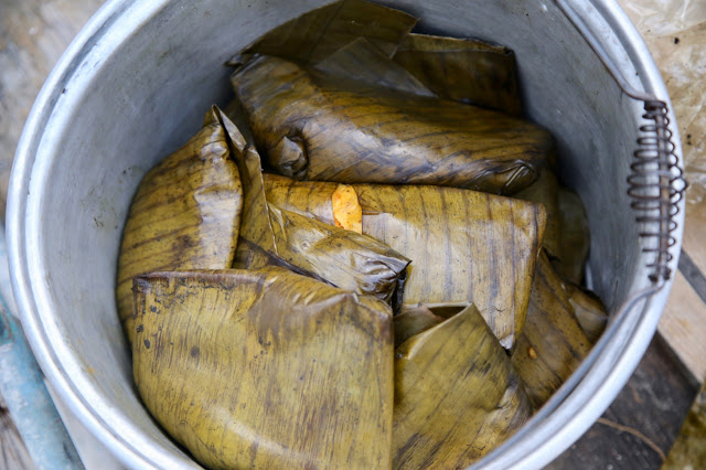 tamales done in banana leaves,holbox, mexico