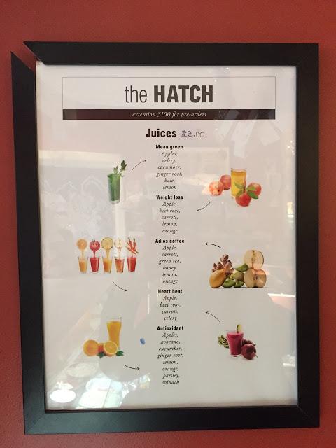 juice menu, The Hatch at Vogue House