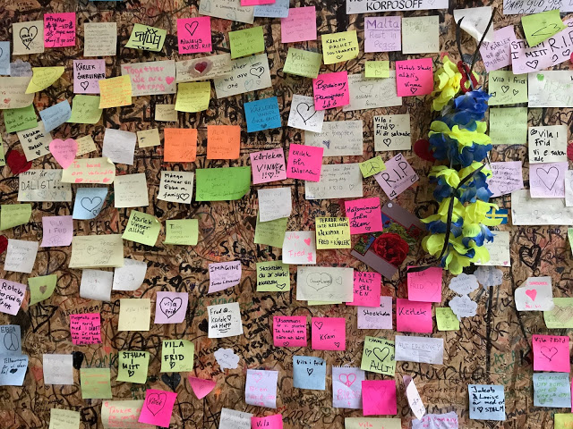 Stockholm mementoes left after the terrorist attack in the centre April 2017