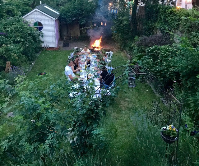Got a bonfire going:  3rd annual Swedish midsummer supper club with msmarmitelover and Linn Soderstrom in London