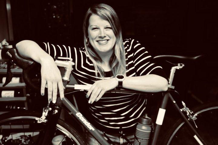 Felicity Cloake and her bike Eddy pix: Kerstin Rodgers/msmarmitelover.com