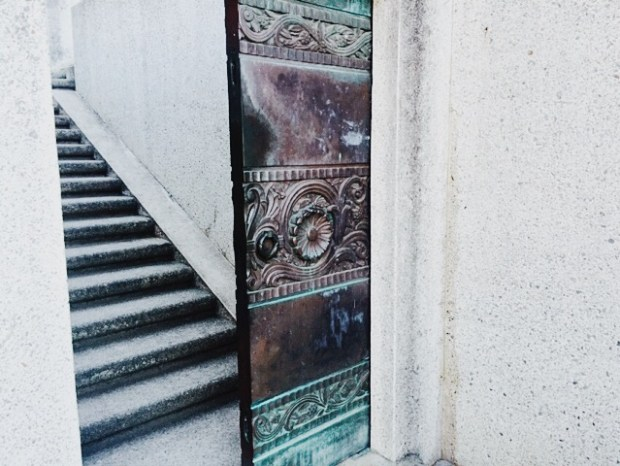 Doorway, Staircase, Bronze, Turquoise, History, Architecture, Dimension, Design, Wrigley's Memorial,