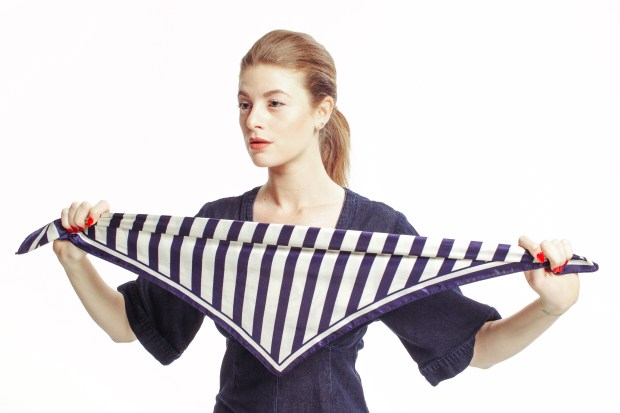 Nautical, Stripes,Denim Jumpsuit, Trends, Paul Mitchell, Red White and Blue, Stripes, Silk Scarf Tutorial, Hair Tutorial, Maverick, Muse,