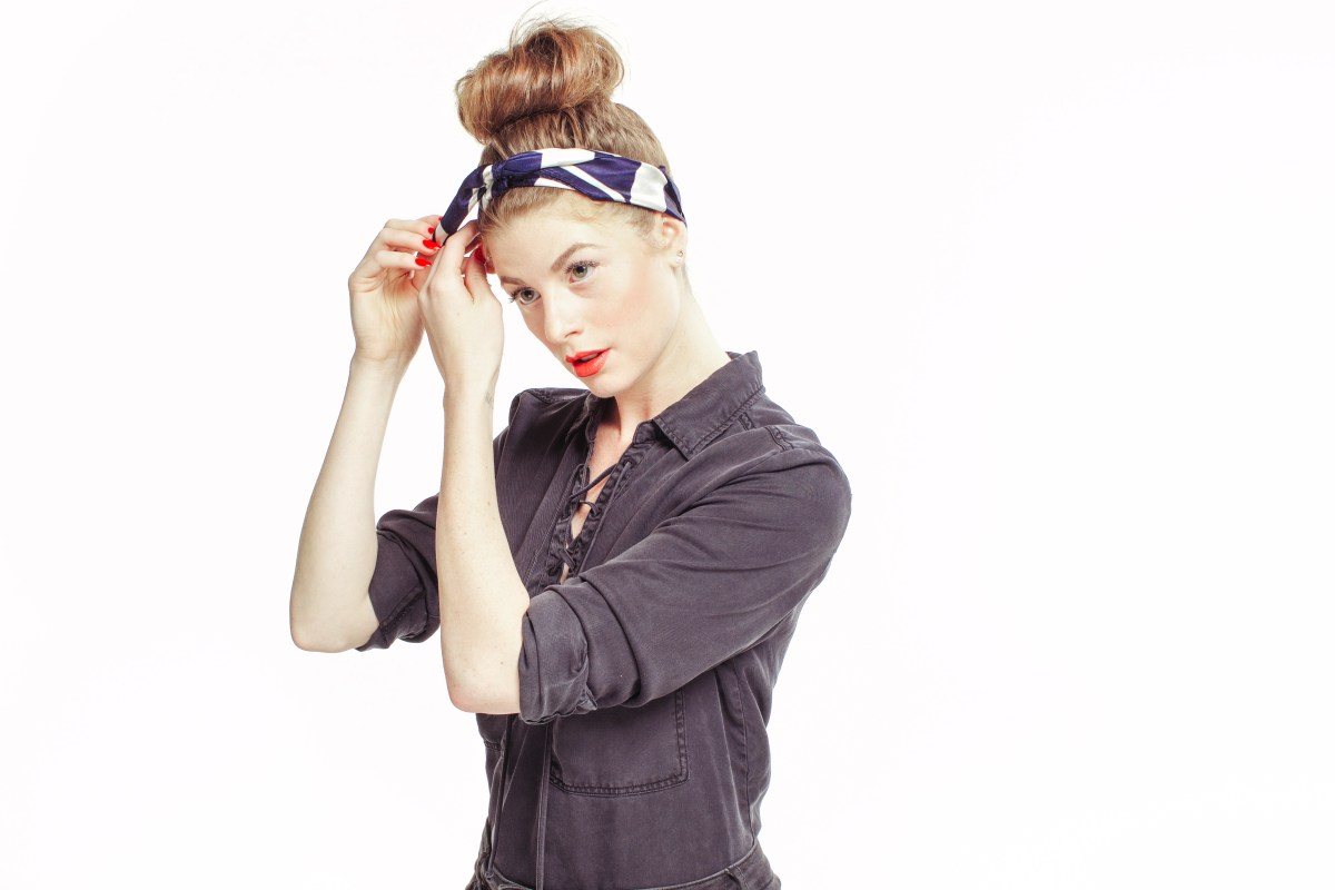 Nautical, Stripes, Lace Up Shirt, Trends, Paul Mitchell, Red White and Blue, Stripes, Silk Scarf Tutorial, Hair Tutorial, Maverick, Muse, Tucking,