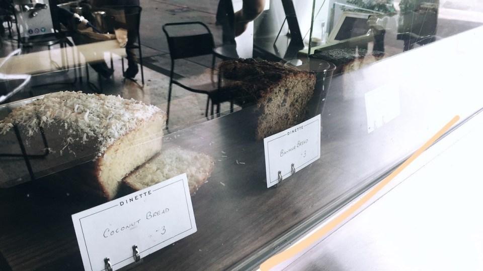 DINETTE, Pastries, Yummy, Echo Park Staple, Coconut Bread, Banana Bread, Handwritten, Coffee Shops, Pastries, Wanderlust, Wander, Photo Diary, LA's Finest Shops, Delicacy,
