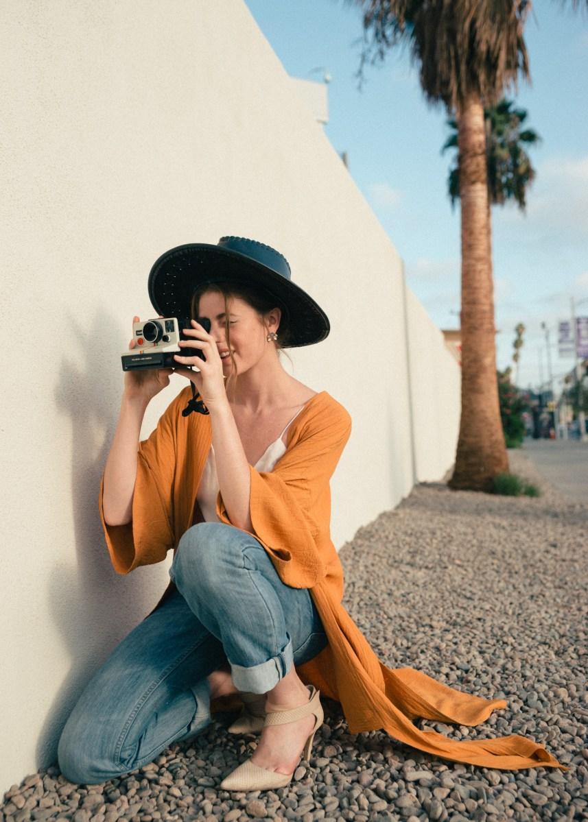 polaroid, vintage fashion, los angeles bloggers, levis, best ootd, vince camuto shoes, nude heels, photography, la lifestyle, orange, kimono,