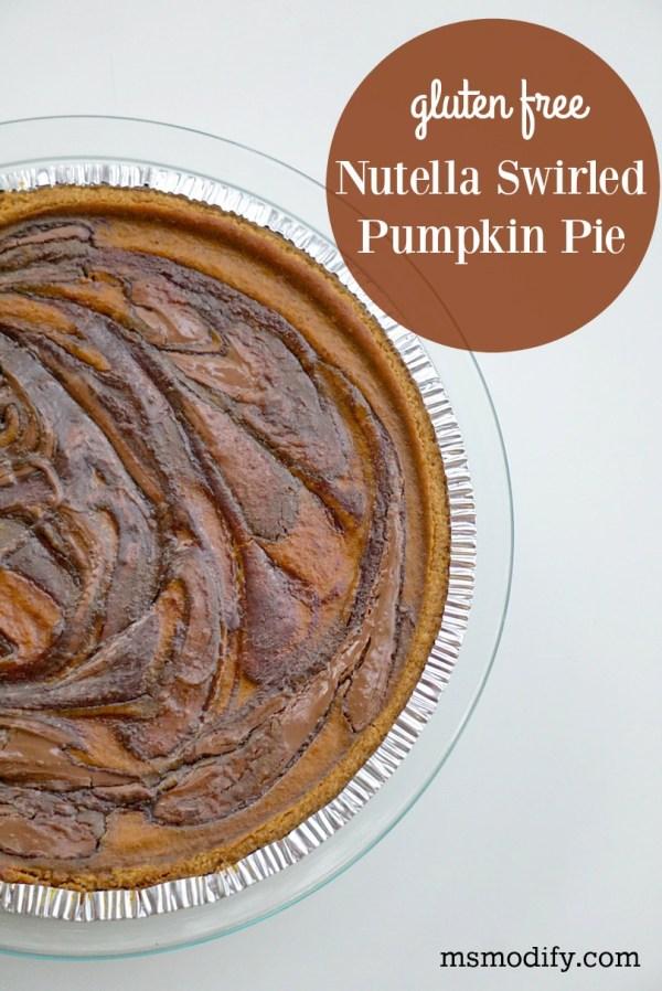 gluten free nutella swirled pumpkin pie