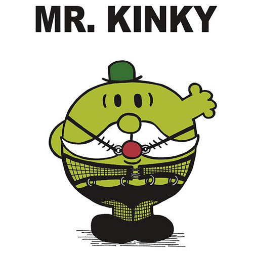 """bdsm basics kink workshop learn about bondage and kinky play [image description: a cartoon of a green, round man with a white moustache in fishnet pantyhose and a ball gag waving. It is titled """"Mr. Kinky""""]"""
