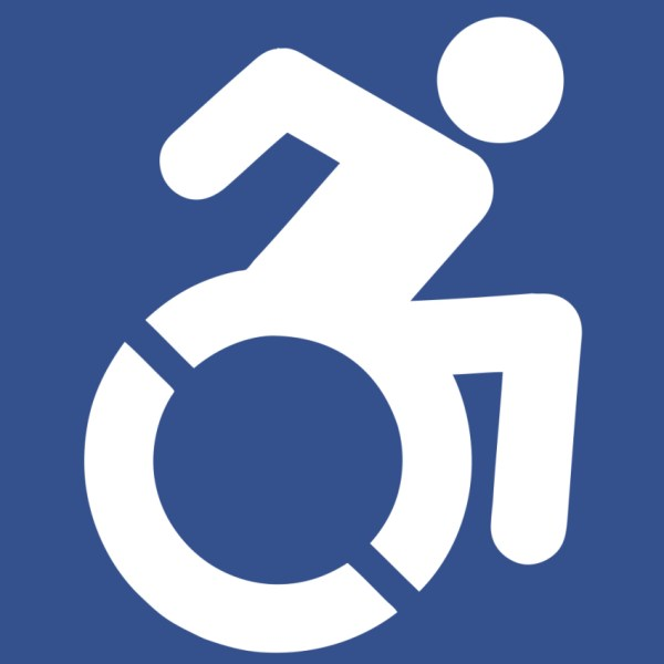 [Image Description: the new accessibility icon, a drawing of a person pushing a wheelchair, as if in motion, the drawing is white on a blue background] Workaounds BDSM for people with disabilities, mental chronic illness