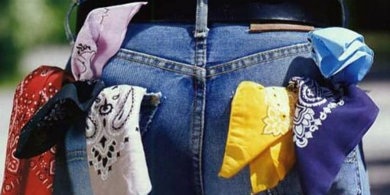 photo of a person from behind. They are wearing jeans and have seven handkerchiefs in the back pockets. They are flagging pink, red, black and white on the left and yellow, dark blue and light blue on the right.