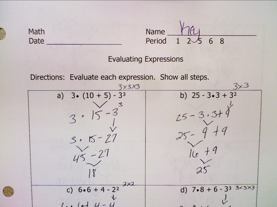 Evaluating Expressions Answer Key