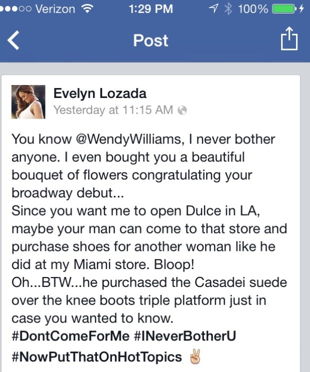 Evelyn Lozada FB Post