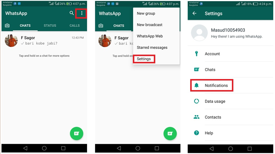 customize whatsapp notification on android