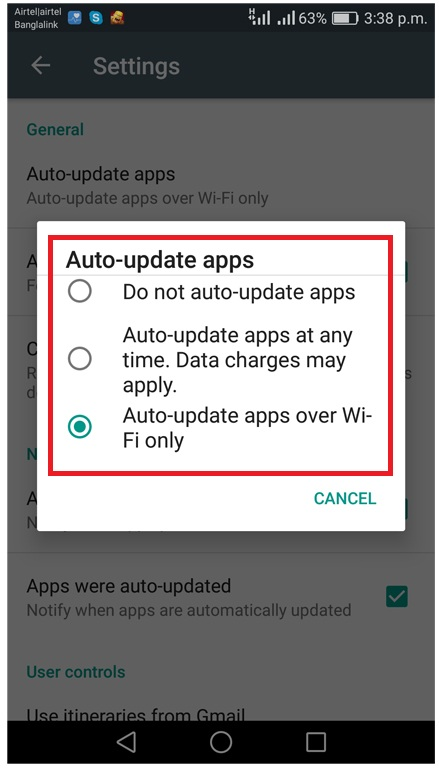 disable automatic update of android apps
