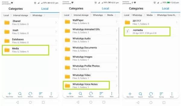 find WhatsApp audio folder