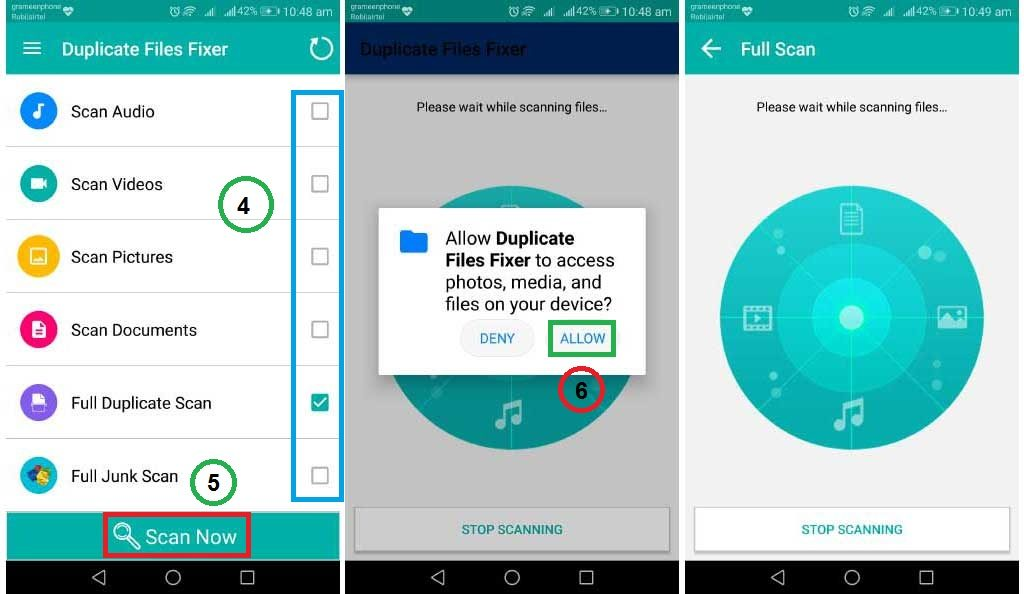 Scan for duplicate android files