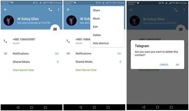 delete telegram contact
