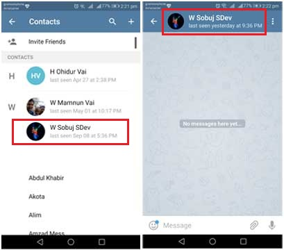 find telegram contact