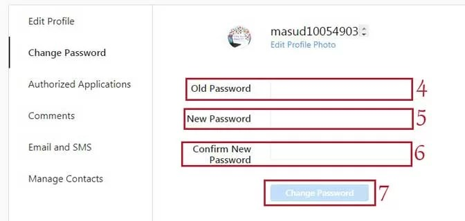 Step4 change instagram password PC